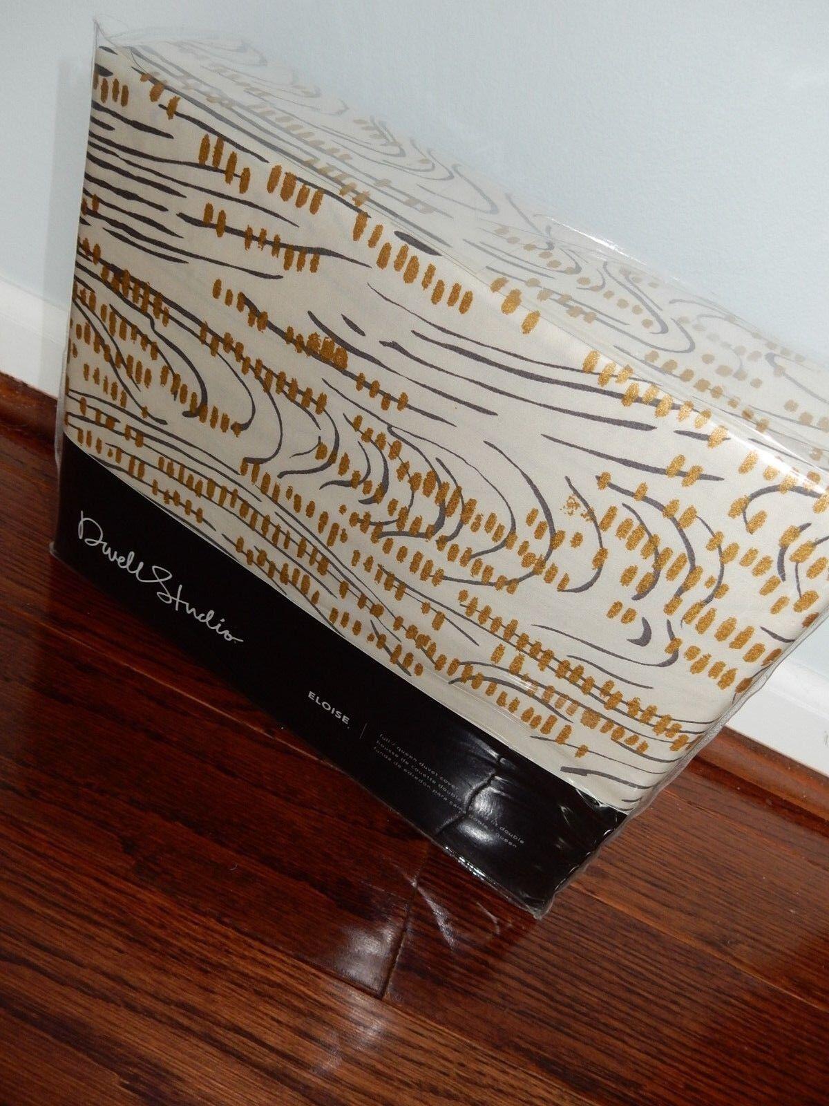 DWELL STUDIO Eloise QUEEN DUVET COVER Metallic oro BRUSH STROKE Bloomie's