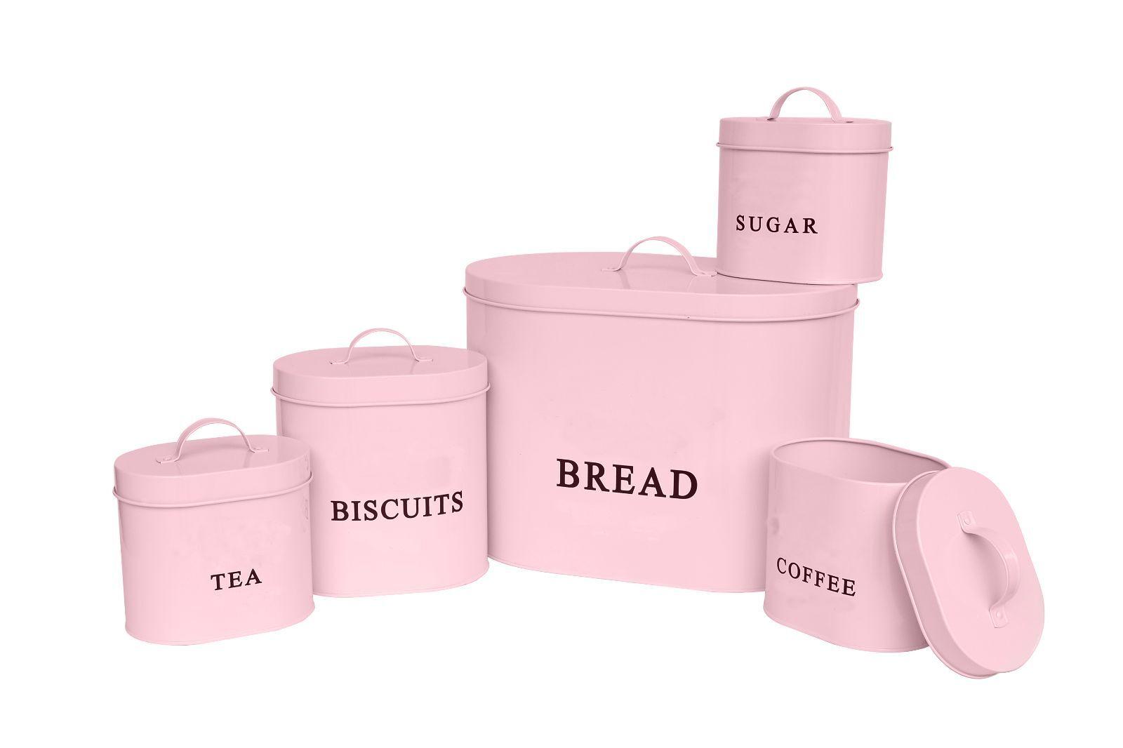 C&C Stylish 5-Piece Baby Pink Kitchen Oval Storage Set