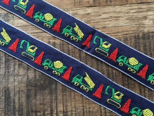 Laverslace bleu marine camions Tissé Jacquard Braid Ribbon Trim 22 mm Enfants