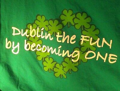 L green T Shirt IRISH WEDDING dublin the fun AIRPLANE shamrock HONEYMOON marry