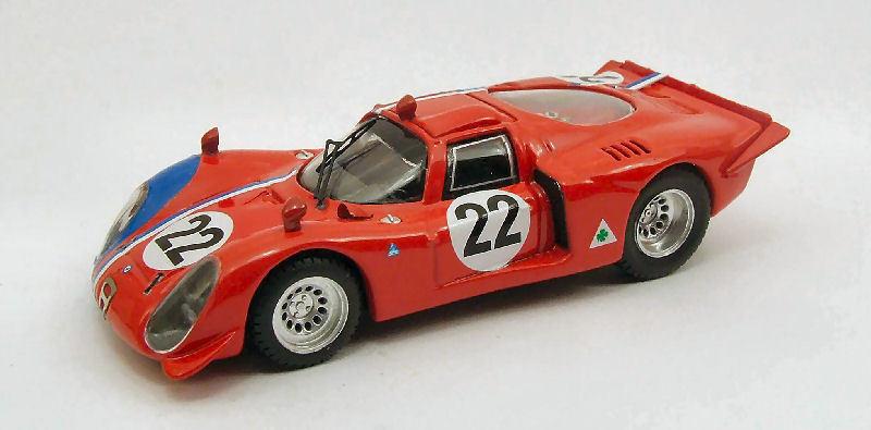 Alfa romeo 33,2   22 in 1000 km parigi 1968 pilette   slotemaker 1 43 modell