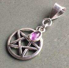 925 Sterling Silver Amethyst Charm, Tibetan Silver Pentagram Pendant Wicca Pagan