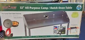 Camp Table Dutch Oven Outdoor Kitchen Cook Removable Adjustable with Legs 32 in