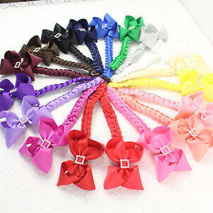 Lot-girl-4-9pc-hair-bow-clips-with-quartet-drill-6-knot-braid-2796-mix4-P