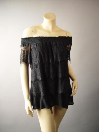 Black Lace Smocked Off The Shoulder Gypsy Goth Evening Top 271 mv Blouse S M L