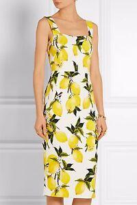 Image Is Loading Dolce Amp Gabbana Lemon Print Stretch Cady Dress