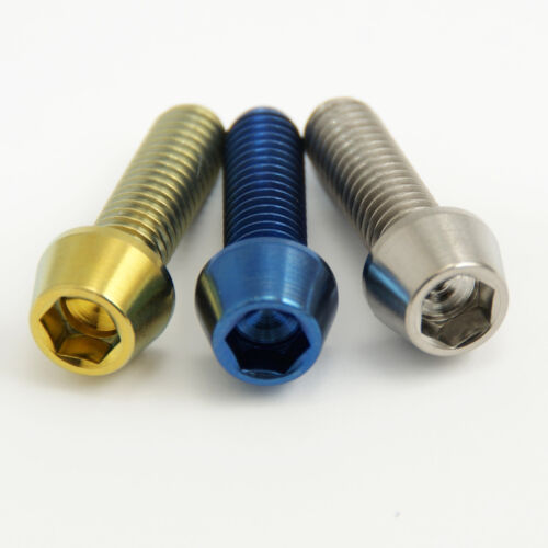 Blue or Natural Finish Titanium Bolt M6x20mm Tapered Head Gr5 Aerospace Gold
