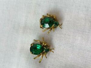 Rare VTG Art Deco 20s 30s Paste Green Brass Insect Bug Halloween Clip Earrings