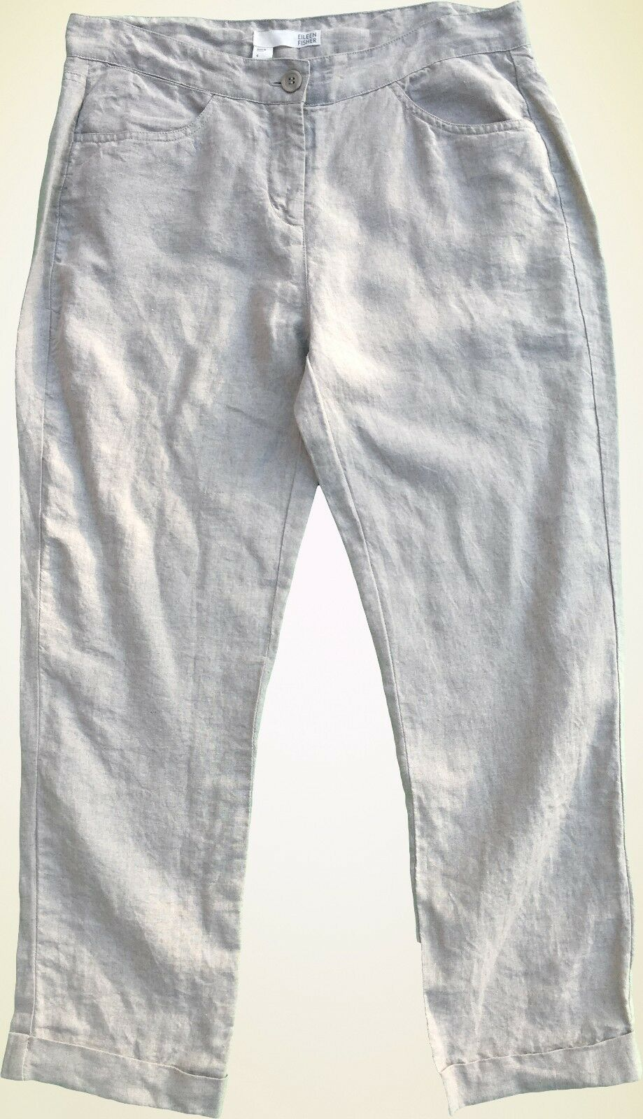 158 Eileen Fisher Organic Linen Natural Beige Crop Capri Cuffed Pants