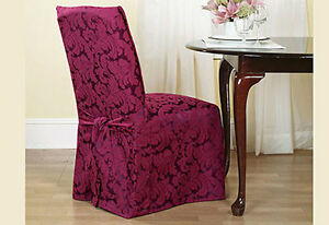 Sure Fit Scroll Long Dining Room Chair slipcover Burgundy