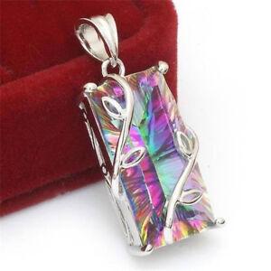 925-Silver-Woman-Huge-Mystic-Rainbow-Topaz-Pendant-Chain-Chocker-Party-Gift