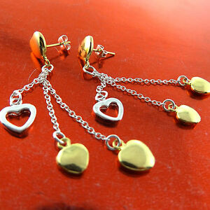 1a6d09cd Details about EARRINGS DROPS GENUINE REAL 925 STERLING SILVER S/F 18K  YELLOW GOLD HEART DESIGN