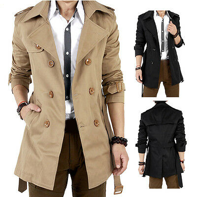 Men's Winter Slim Double Breasted Trench Coat Long Jacket Overcoat Outwear Brown