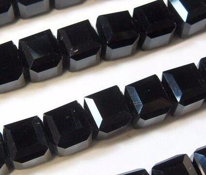 25 Glasperlen 4mm Würfel Böhmische Schwarz Tschechische Kristall X225