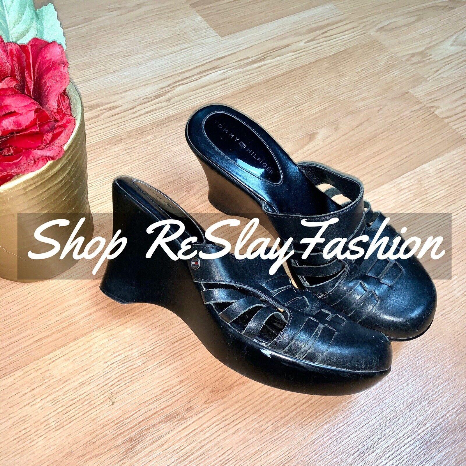 Tommy Hilfiger  Black Mule Leather Wedges Size 8 - image 1