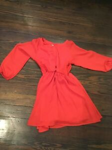 GB Girls Brand Red And Lace Long Sleeve Dress Size Medium