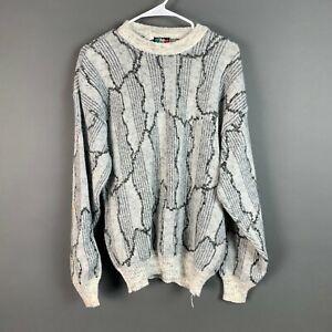 Vintage-Colore-Schwarzweiss-Italien-COOGI-Style-Wollmischung-Pullover-Herren-Medium