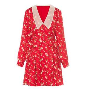 2020-Mujer-pasarela-inspirado-disenador-estilo-frances-pequeno-vestido-rojo-de-Margarita