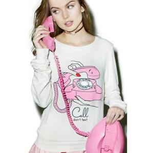 da15761e1c Wildfox Couture Women's Call Don't Text Baggy Beach Jumper Sweater ...