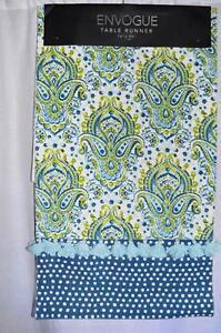 Attirant Image Is Loading Envogue Table Runner Blue Green Demask Floral Polka