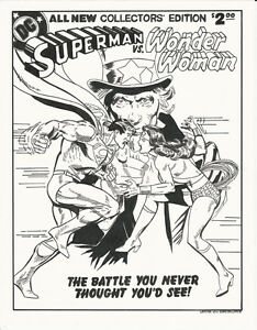 Wonder Woman vs Superman original Art Recreation Cover pin up pinup