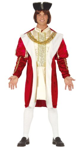 Mens Regal Royal Red Gold Tudor King Historical Fancy Dress Costume Outfit