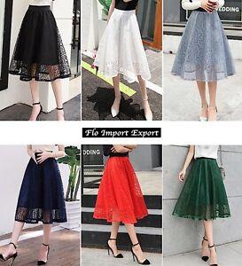 save off 7e128 a74b6 Dettagli su Gonna Estiva Pizzo Donna in 6 Colori Tinta Unita - Woman Lace  Skirt 130035