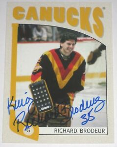 RICHARD-BRODEUR-SIGNED-ITG-FRANCHISES-VANCOUVER-CANUCKS-CARD-AUTOGRAPH-AUTO
