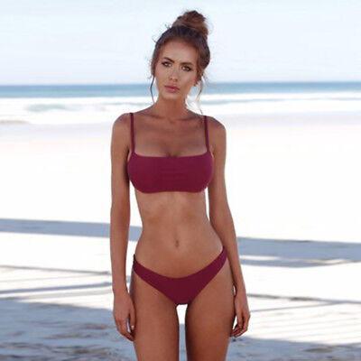 Fashion Women Solid Color Triangle Bikini Set Padded Push up Swimsuit Beachwear