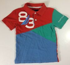 Nautica Polo Shirt Kids Size 4 Small Orange Blue Aqua Green
