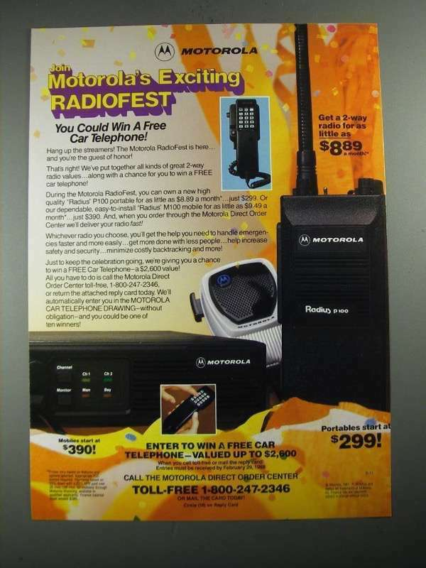 1987 Motorola Ad - Radius P100 portable; Radius M100 Mobile 2-Way Radios. Buy it now for 16.99