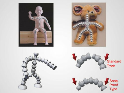"""pack of 5 Plastic Armature /""""+/"""" Joint for Dollmaking and Teddies  1//8/"""""""