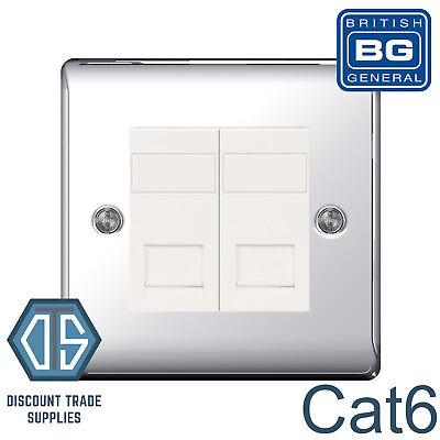 BG Brushed Steel NBSRJ45 2 Gang RJ45 Cat6 Data Socket Outlet White Insert Satin