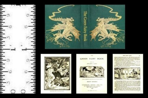 1:12 SCALE MINIATURE BOOK THE GREEN FAIRY BOOK ANDREW LANG ILLUSTRATED