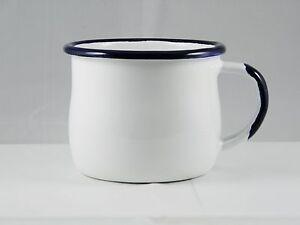 2x-Becher-Trinkbecher-Tasse-Kaffeebecher-Emaille-0-28-l-weiss-Email-a-Polen-neu