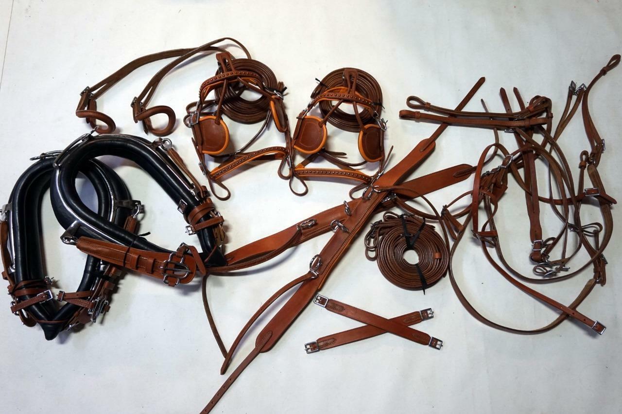 Collar Hames 15  Pony arnés equipo de conducción de caballo Bronceado Negro + acentos de cobre