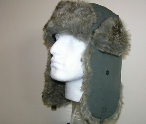 TRAPPER-RUSSIAN-HAT-THICK-FAKE-FUR-GREEN-VERY-WARM-59CM-L-NEW