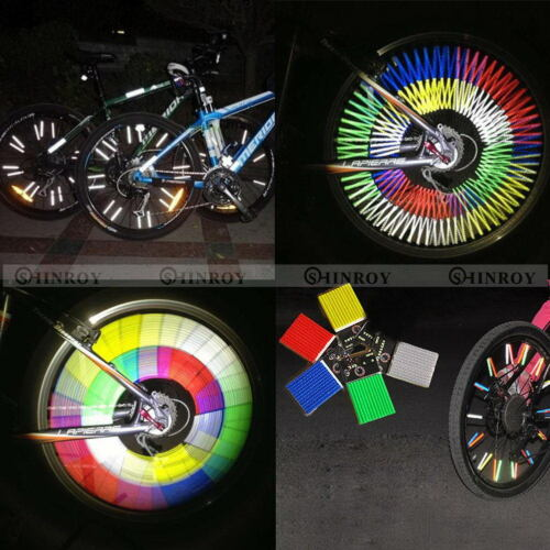 12 Pcs Bicycle Clip Spoke Rim Reflective Wheel Tube Strip Light Reflector NEW