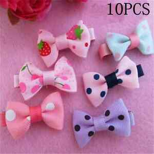 10//5 Girls Baby Kids Children Hair Accessories Bows Alligator Clips Slides UK