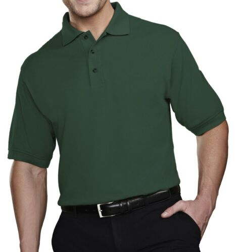RESISTS STAINS COTTON BLEND PIQUE POLO EASY CARE MEN/'S RELAXED FIT LT-6XLT