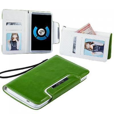 Numia Bookstyle Handy Tasche LG Optimus L4 II E440 Grün Weiss Schutz Hülle Case