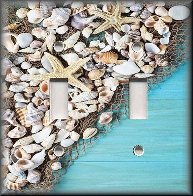 Coastal Decor Shells Fish Net Aqua Blue Starfish Decor Metal Light Switch Cover