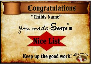"Personalised ""NICE LIST"" CERTIFICATE -SANTA'S OFFICIAL LIST  - XMAS- 5 designs"