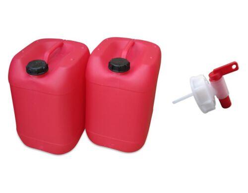 Hahn 2 Stück 20 Liter Kanister rot Camping Plastekanister Kunststoffkanister