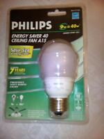 Philips Cfl 9w=40w Energy Saver 40 Ceiling Fan A15 Soft White Light No Tax