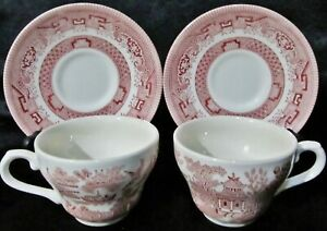 2-Churchill-Willow-Pink-Rosa-Tea-Cups-amp-Saucers-Red-England-Birds-Boat-Coffee