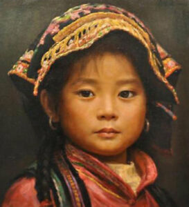 CHENPAT362  chinese little girl portrait art hand-painted oil painting on canvas