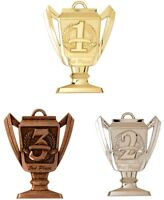 1ST 2ND 3RD PLACE MEDALS GOLD SILVER BRONZE W/ NECK RIBBON TROPHY CUP DESIGN
