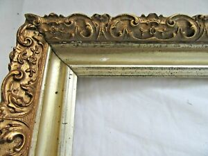 "ANTIQUE FIT  11.75X 18.75"" GOLD PICTURE FRAME WOOD GESSO ORNATE FINE ART COUNTRY"