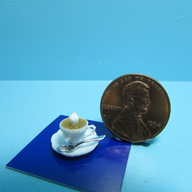 Miniature Clear Plastic Measuring Cup Filled with MILK DOLLHOUSE 1:12